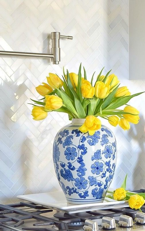 Blue and white - yellow tulips