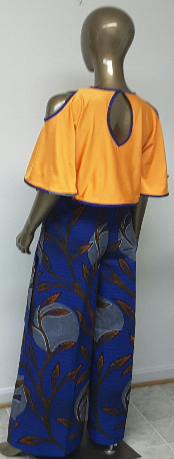 African Print Palazzo Pants. Inside Pockets. Sash by NanayahStudio