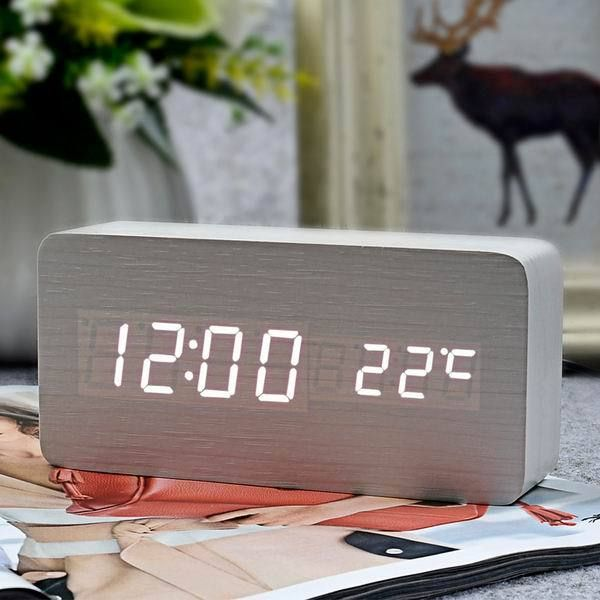 FiBiSonic Modern Home decor white LED Alarm Clock,saat Despertador Temp+date+time Electronic Digital Table Desktop Clocks