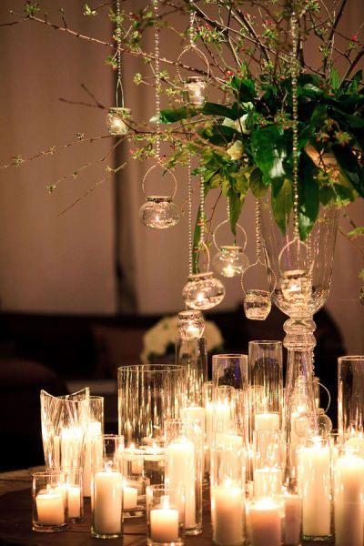 Glass, candles, romantic, tea lights, wedding reception, BoHo chic.   http://cunninghamphotoartists.com