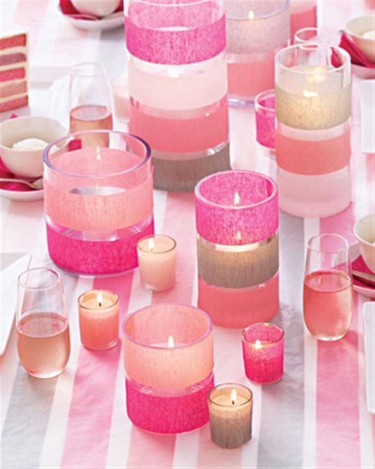 Pick up dollar store vases & candles and add assorted ribbons to have decorative accents