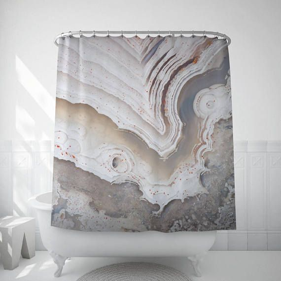 Agate Shower Curtain White Agate Art Mineral Photography