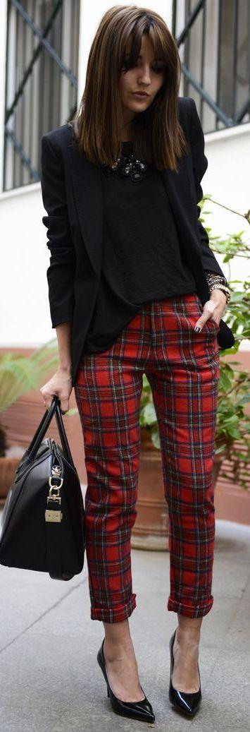 black blazer, plaid pants