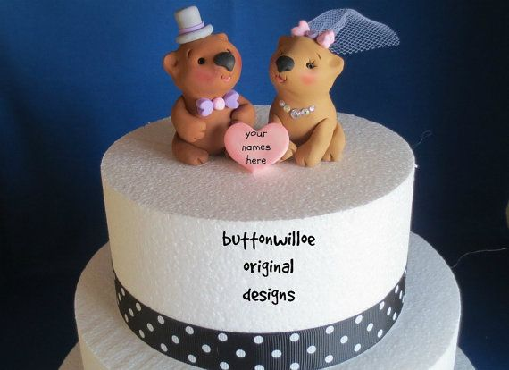 Whimsical Wombat Wedding Cake Topper Bridal Shower by Buttonwilloe
