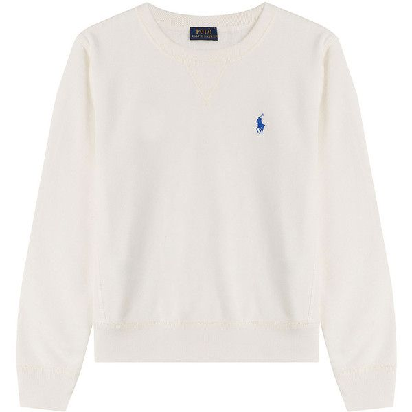 Polo Ralph Lauren Sweatshirt ($68) ❤ liked on Polyvore featuring tops, hoodies, sweatshirts, jumper, sweaters, white, white sweatshirts, slimming tops, round neck top and relaxed fit tops