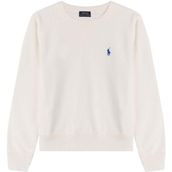Polo Ralph Lauren Sweatshirt (£71) ❤ liked on Polyvore featuring tops, hoodies, sweatshirts, jumper, sweaters, white, white sweatshirt, embroidered sweatshirts, round neck top and white cotton sweatshirt