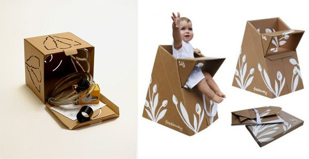 How to make a baby sit from a cardboard box