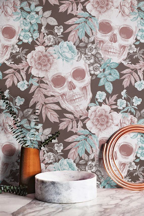 Hibiscus and Skull Wallpaper, Removable Wallpaper, Fern Wallpaper, Skull Wall Mural, Fern Wall Decal, Floral Wallpaper, 199B