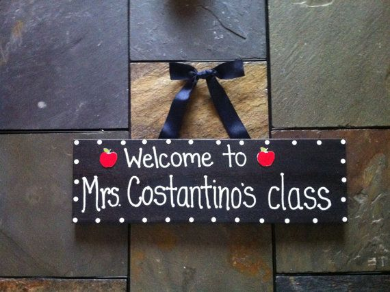 Teacher Welcome Sign Name Hanger Apple for by OverwhelmedByLove, $15.00