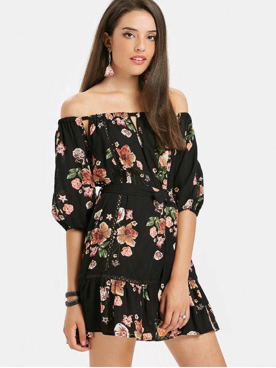 21f9045de1ac Off Shoulder Floral Flounce Beach Dress - BLACK S
