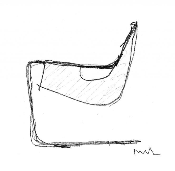 poltrona Paulistano - Paulistano original armchair original sketch by Paulo Mendes da Rocha