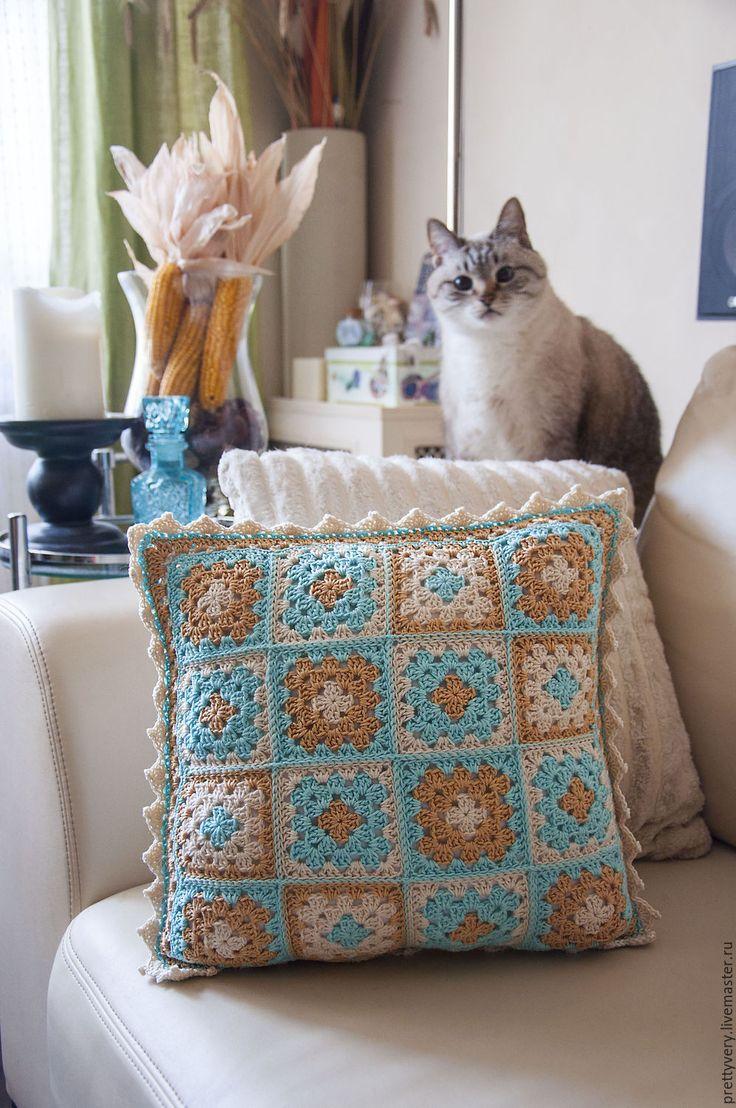 """Купить Подушка """"Мятный крем"""" - мятный, бирюзовый, кремовый, подушка, подушка декоративная, подушка на диван"""