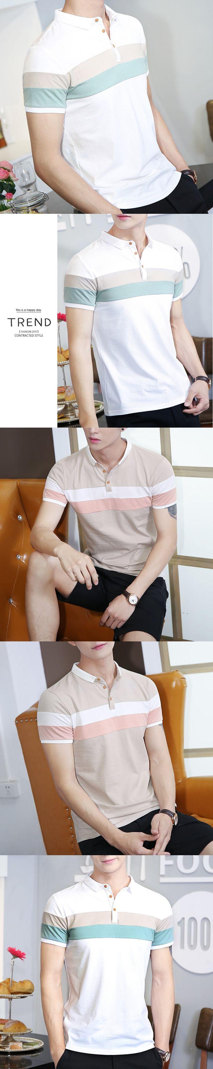 Kayphil Short Sleeve Striped Pattern Lapel Casual Cotton POLO Shirt for Men Korean Fashion Tops M-4XL