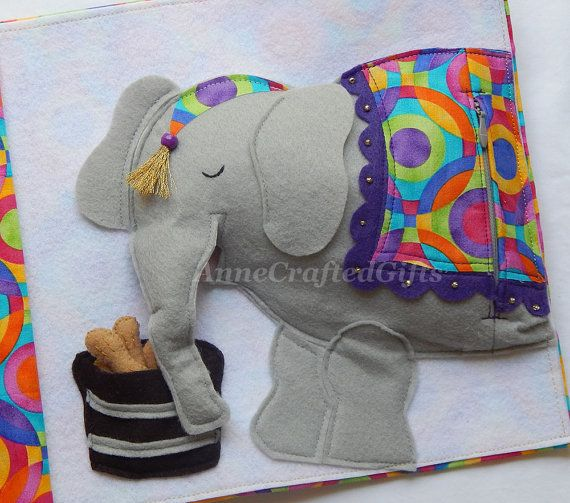 This item is part of my Circus Quiet Book Collection - click this link to see all the circus pages available or to purchase an entire book: https://www.etsy.com/listing/272773726/circus-quiet-book-busy-book-toddler-or?ref=listing-shop-header-3  The elephant has five peanuts in his food barrel that he needs help eating! The movable trunk and open mouth allow for easy feeding. The elephant's body is hollow and when the zipper at the back is unzipped, it allows for little hands to reach inside…
