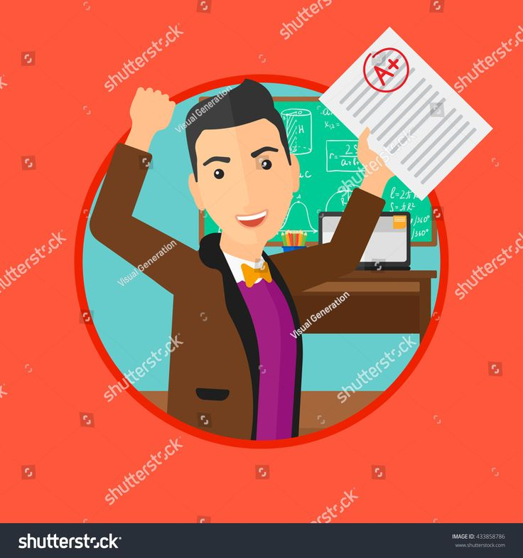 stock-vector-student-holding-a-sheet-with-the-highest-mark-student-showing-test-with-a-grade-in-the-classroom-433858786.jpg 1500×1600 пикс