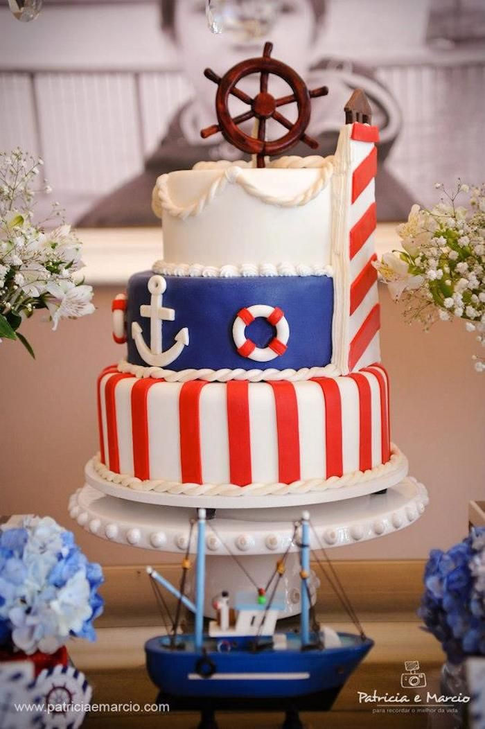 Nautical Navy Themed Birthday Party Festa Tem 225 Tica