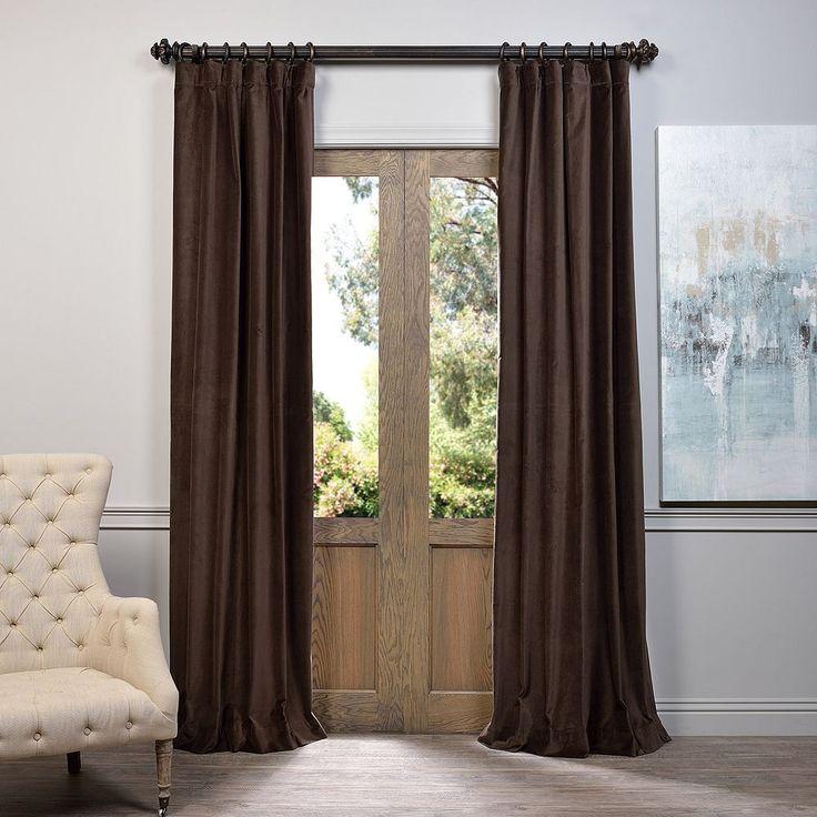 EFF Vintage Cotton Velvet Curtain, Brown