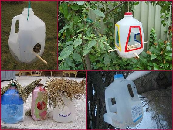 Bird houses milk jugs 2 how to make birds house using milk for Making a bird feeder out of recycled materials