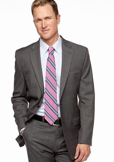Lauren Ralph Lauren Tailored Clothing Big & Tall Ultraflex Portly Cut Sharkskin Suit Separate Coat