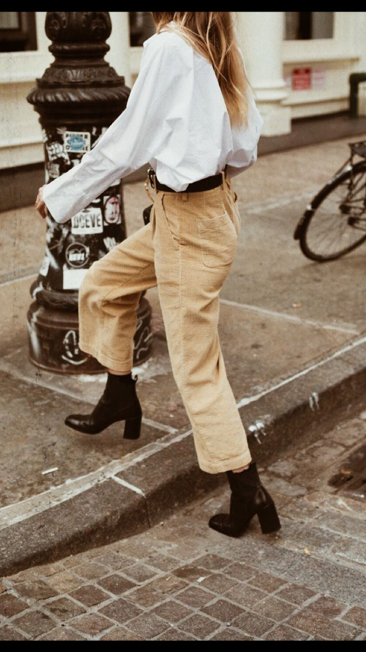 Cropped khakis and ankle boots