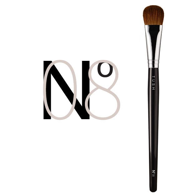 Nr 08 Large Blender Brush. This thick, curved extra large brush is made of natural bristles and is a multi- purpose tool. It is perfect for the application of eyeshadow as well as with foundation for a flawless complexion. Available at www.tushbrushes.com