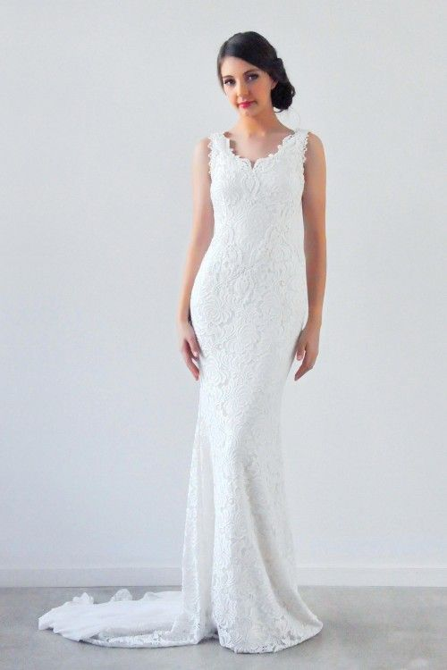 Our Jager Gown with Byron Bay Lace - how fitting!