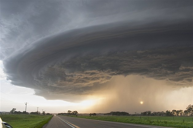 Nebraska supercell: The sun shines under a long-lived supercell, a type of thunderstorm, moving across northeast Nebraska