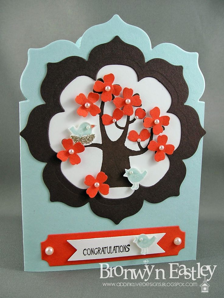 2014  Hostess Set called, Nuts About You and using  Floral Frames Collection Dies  to make a fun shaped card. The colour combo is Soft Sky, Early Espresso, Tangerine Tango and a teeny bit of Soft Suede.