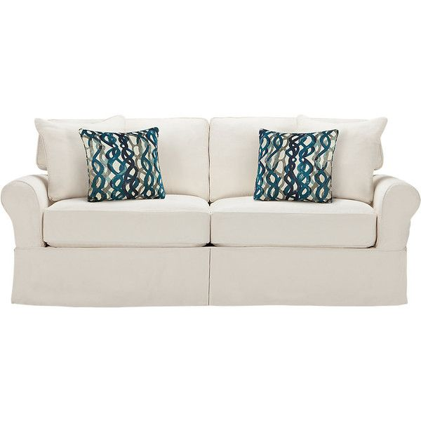Cindy Crawford Home Beachside Natural Sofa  - Sofas (White) ❤ liked on Polyvore featuring home, furniture, sofas, white sofa, white furniture and white couch