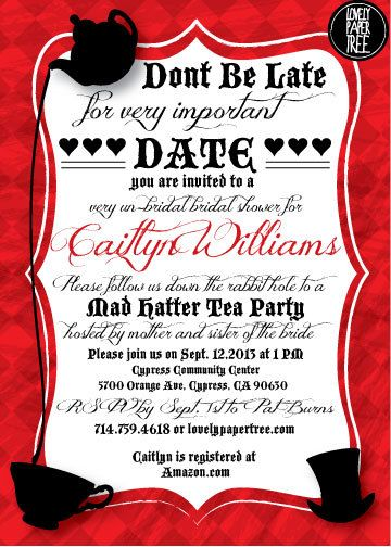 Mad Hatter's Tea Party Bridal Shower Invitation by ...