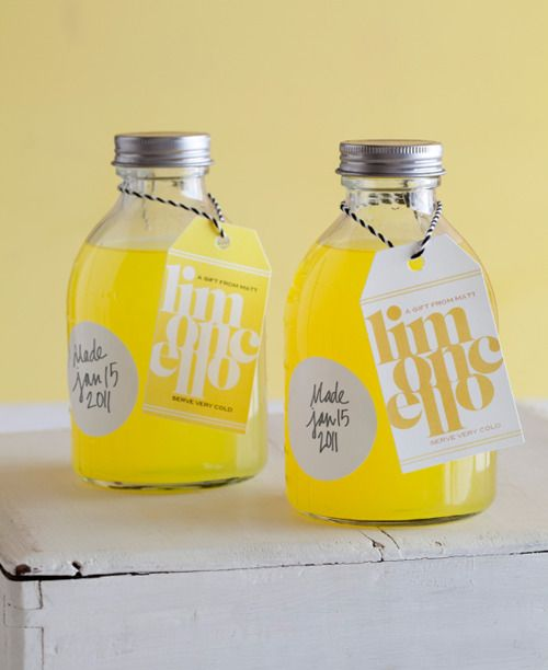 favorcraver: Homemade limoncello with slick DIY labels. Check out the details on the label making project at Matt Bites. found via Forget Me Knot Weddings