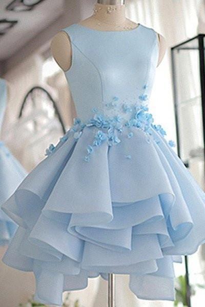 Sky Blue A-line Scoop Neck Satin Tulle Short Flowers Original Mini Dress Homecoming Dress
