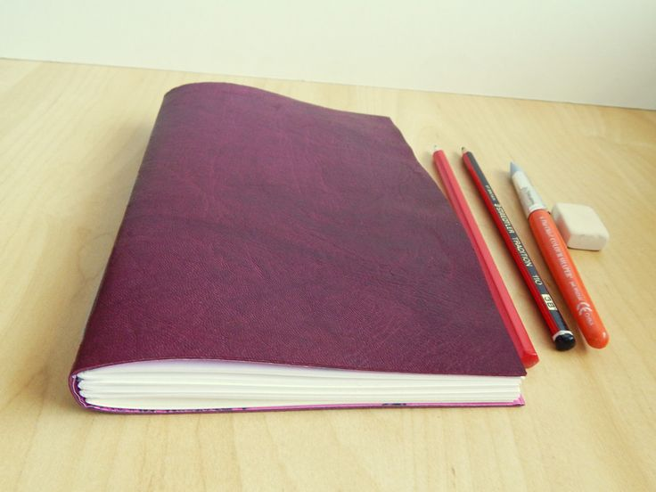 Leather Sketchbook Blackcurrant Leather with Gray Linen Thread, by LizzieMade Hand Bound Books
