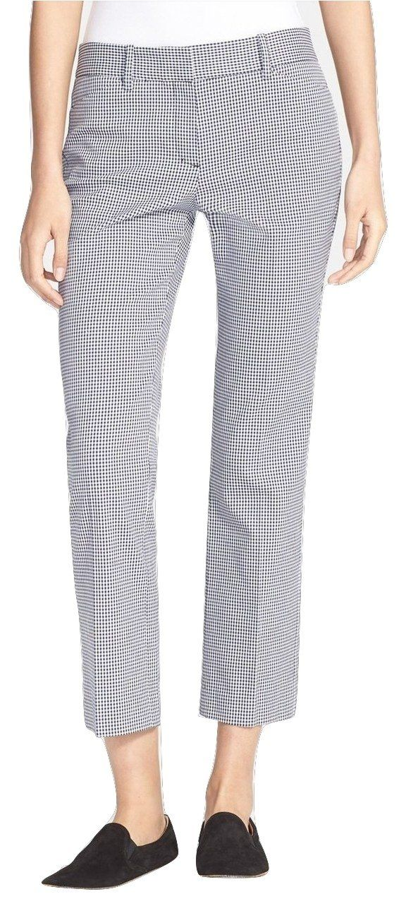 """Theory Women's Izelle S Benson Check Crop Pants, Navy Blue/White, Size 2. Navy puppytooth checks lend modern polish to ankle-grazing flat-front pants cut from flattering stretch cotton. Approximate 27 3/4"""" inseam; 14 1/2"""" leg opening; 9"""" rise. Zip fly. Partially lined. Side slant pockets; back welt pockets. By Theory; made in the USA with Italian fabric. 98% cotton, 2% elastane. Dry clean."""
