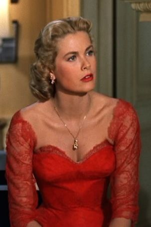 Grace Kelly in 'Dial M for Murder', 1954 - Hitchcock used costume designer, Moss Mabry for this master thriller. Who can forget Grace Kelly in this stunning, red lace dress.