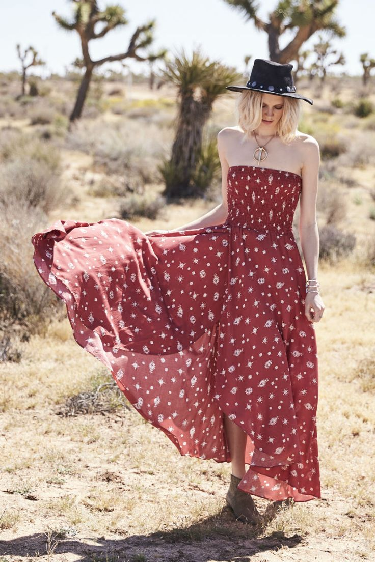 Auguste The Label - Gypsy Girl Shirred Tube Dress In Red Musk