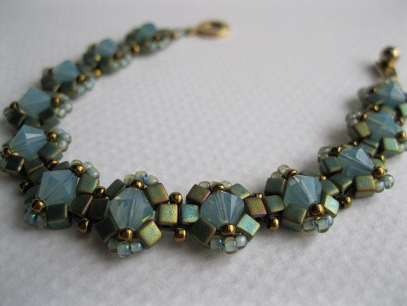 Pacific blue opal crystal and teal cube Queen by BeadALittleDream, $25.00
