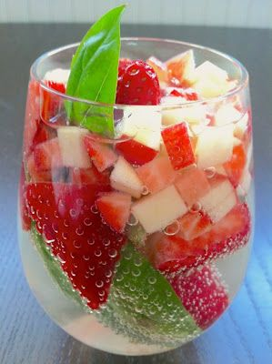 ½ lb of fresh strawberries  1 apple {slice + dice into small pieces}  1 ounce of fresh whole basil leaves  1 bottle of Chardonnay  ½ cup organic sugar  1 cup of club soda  1 cup of white grape juice