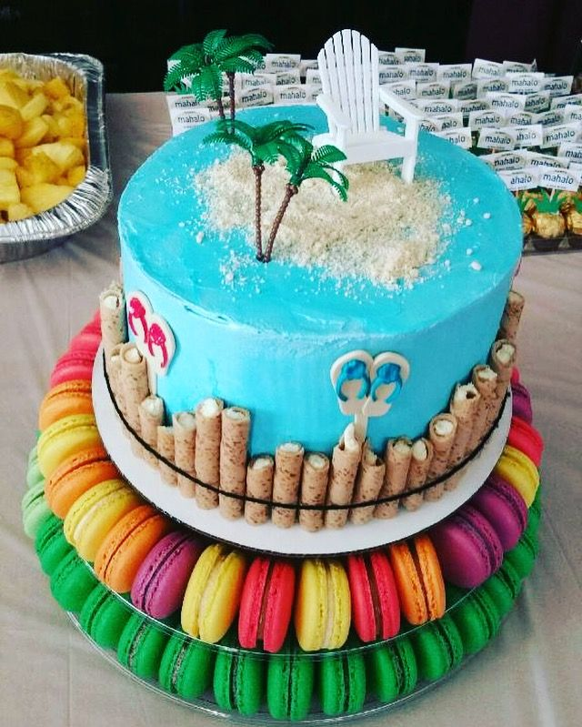 Hawaiian themed cake. Macarons made by yours truly.