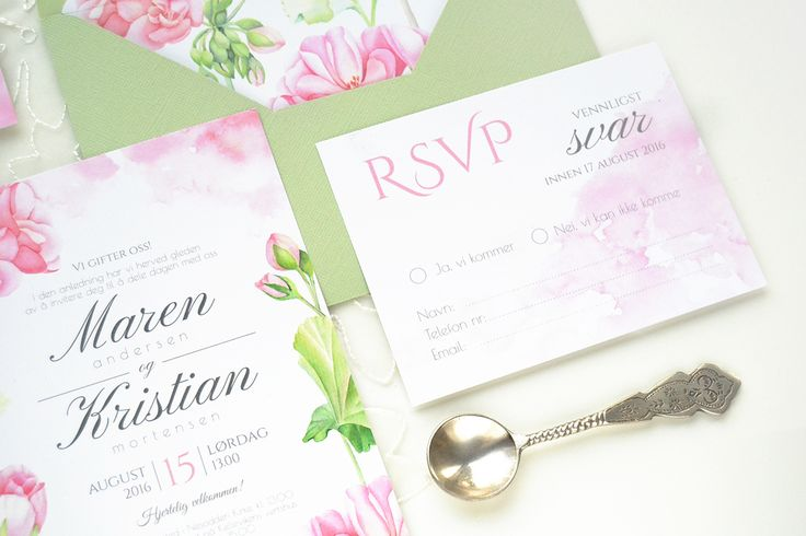RSVP - Geranium watercolor wedding invitation suite by Kateryna Savchenko - Akvarelldesign.com