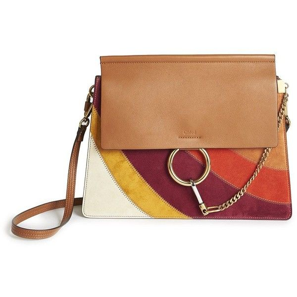 Chloe Faye Rainbow Patchwork Suede And Leather Shoulder Bag