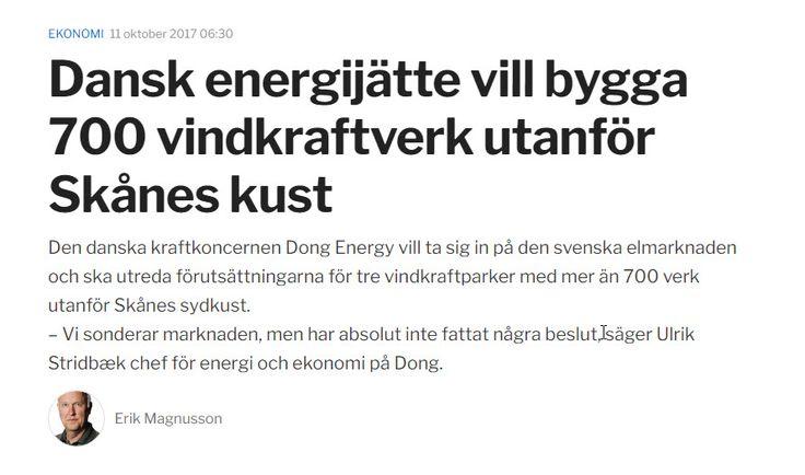 Dong Energy vill bygga #vindkraftspark utanför Skånes kust https://www.hd.se/2017-10-11/dansk-energijatte-vill-bygga-700-vindkraftverk-utanfor-skanes-kust