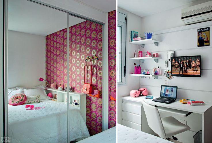 Quarto de blogueira ganha charme com papel de parede estampado