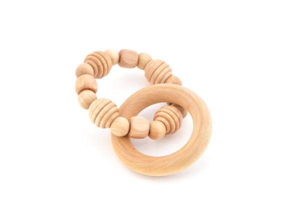 Wooden Teething Ring - Waldorf Grasping Teething Toy - Montessori Inspired Organic Baby Toy - Keepsake Toys (A)