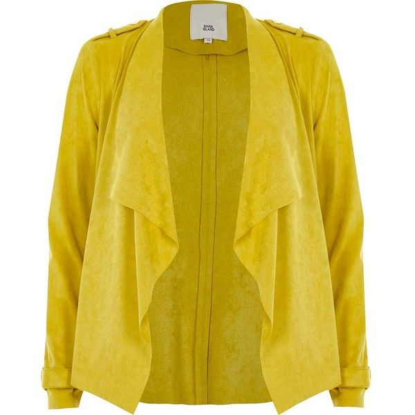 River Island Yellow faux suede fallaway jacket (185 BAM) ❤ liked on Polyvore featuring outerwear, jackets, coats / jackets, women, yellow, river island, yellow jacket, open front jacket, collar jacket and long sleeve jacket