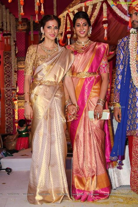 South Indian bride. Gold and diamond Indian bridal jewelry.Temple jewelry. Jhumkis. silk kanchipuram sari.Braid with fresh flowers. Tamil bride. Telugu bride. Kannada bride. Hindu bride. Malayalee bride.Kerala bride.South Indian wedding. Shilpa Reddy.