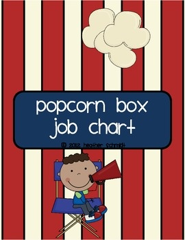 Popcorn Box Job Chart {Hollywood Theme Collection}