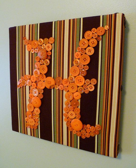 """Custom Button Letter Wall Art on 10""""x10"""" Canvas -- by Letter Perfect Designs #EasyPin"""