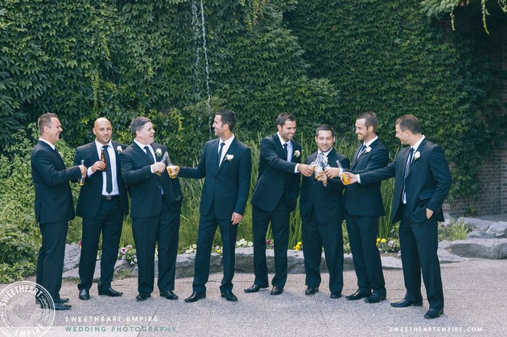 Groomsmen having a beer toast, at The Manor by Peter and Paul's > Sweetheart Empire » Toronto Wedding Photographer