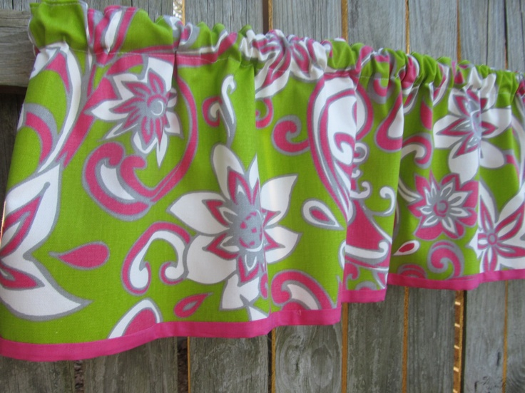 Retro Print Curtain Window Valance In Lime Green Hot Pink